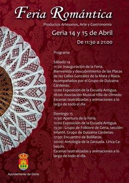 Cartel del a I Feria Romántica de Geria 11-4-2018