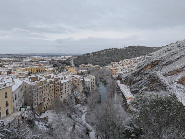 Panorámica del Casco Histórico de Cuenca nevado
