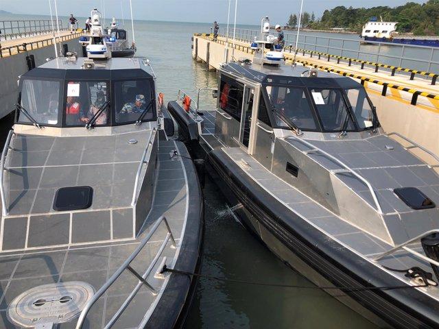 Los patrulleros cedidos por Estados Unidos a la Guardia Costera de Vietnam.