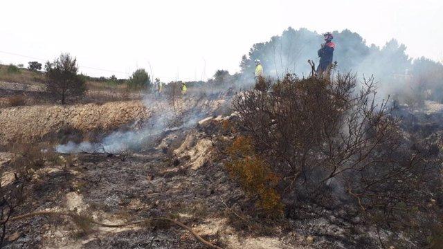 Incendio forestal en Benissa