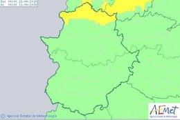 Aviso amarillo por nevadas en Cáceres