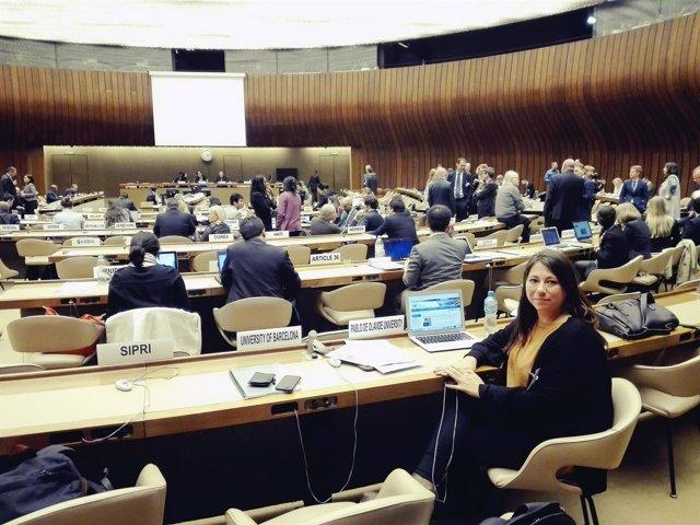 La profesora de la UPO Reyes Jiménez, en la ONU