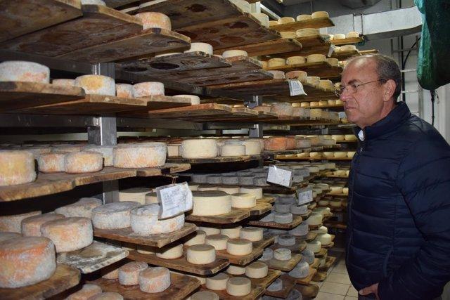 Monago en un almacén de quesos