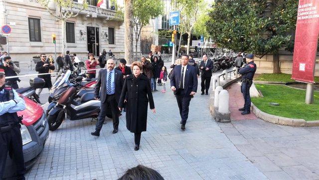 La expresidenta de Brasil Dilma Rousseff antes de su conferencia en Barcelona