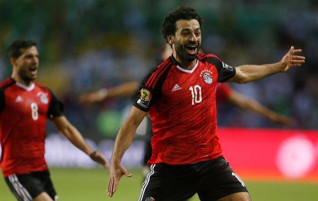 Mohamed Salah celebra un gol con la selección de Egipto