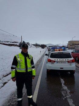 La nieve provoca complicaciones en la circulación en la zona de Daroca