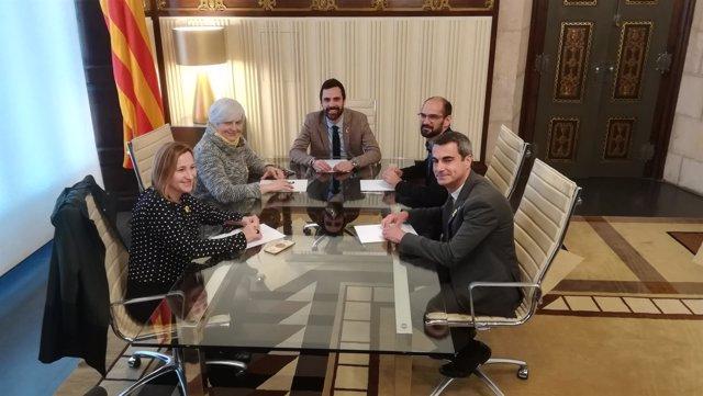 El pte.Roger Torrent con D.Sabater, M.Aymerich, M.Secarrant y J.R.Casals
