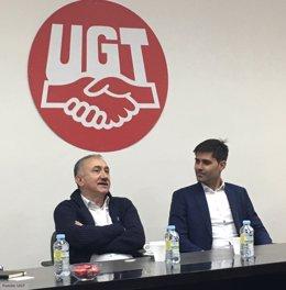 Pepe Álvarez, secretario general de UGT, y David Aganzo, presidente de AFE
