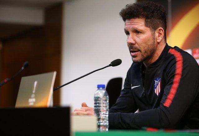 El entrenador del Club Atlético de Madrid, Diego Pablo Simeone