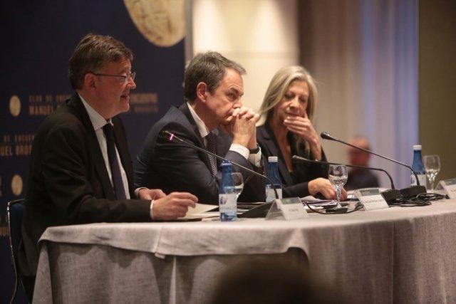 Zapatero, junto al 'president' en el Club de Encuentro Manuel Broseta
