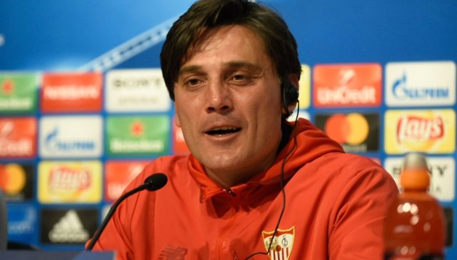 El entrenador del Sevilla FC, Vicenzo Montella, antes de la Champions