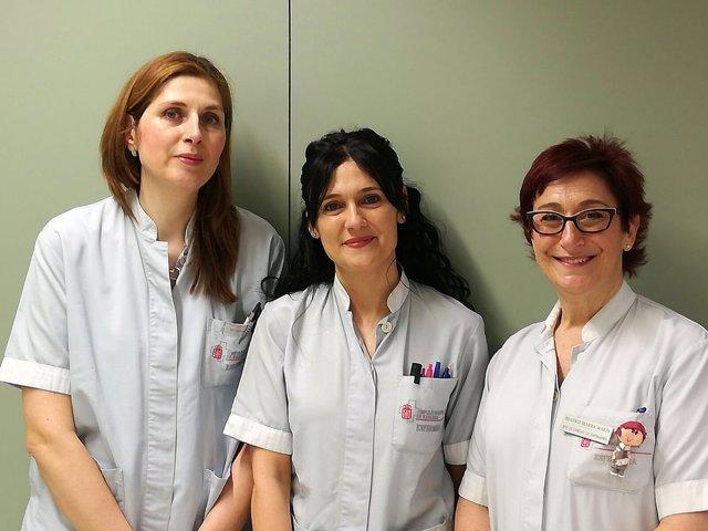Maribel Casado, Ana Díez y Beatriz Ibarra, enfermeras del CHN