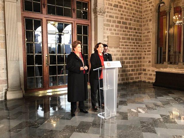 Dilma Rousseff, Ada Colau y Gerardo Pisarello en el Ayuntamiento de Barcelona