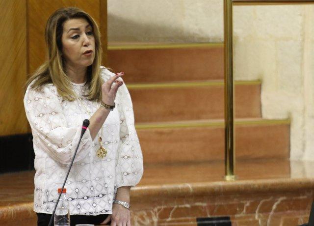Susana Díaz responde en la sesión de control del Parlamento andaluz
