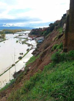 El deslizamiento se ha producido en la parte alta del casco urbano de Gallur