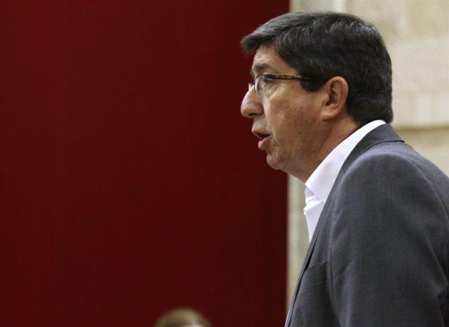 Juan Marín (Cs), este jueves en el Parlamento andaluz