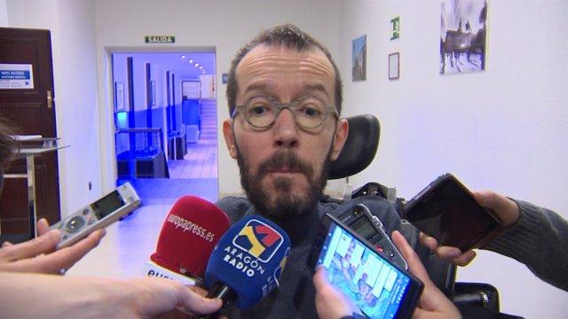 Pablo Echenique en declaraciones a los medios