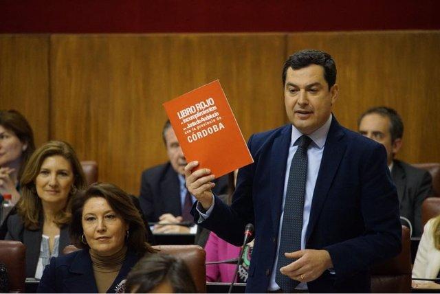 Juanma Moreno, este jueves en el Parlamento