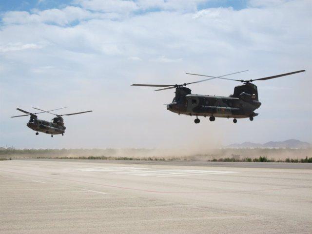 Helicópteros Chinook en el ejercicio SOFEX-16 del Ejército