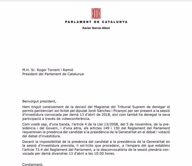 Albiol pide a Torrent que desconvoque el pleno tras la decisión del Supremo
