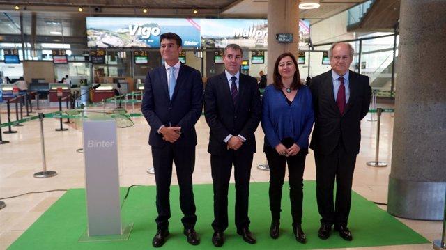 Armengol en la presentación de la nueva conexión Canarias-Baleares