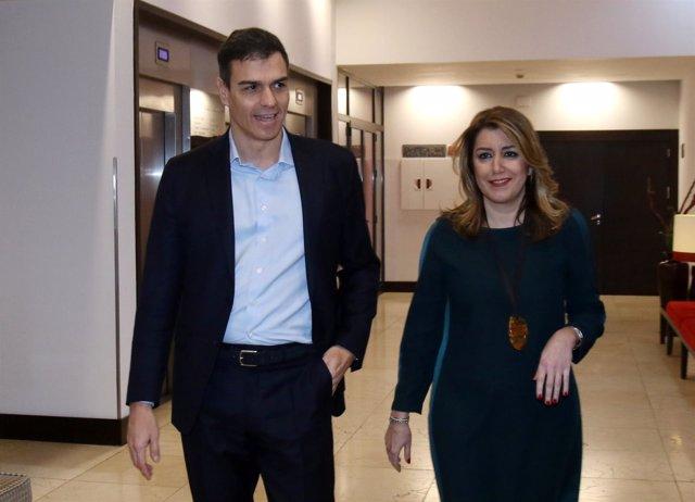 Pedro Sánchez y Susana Díaz, este martes en Sevilla