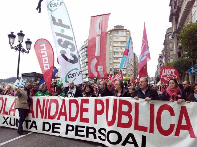 Manifestación para denunciar los problemas del área sanitaria en Vigo