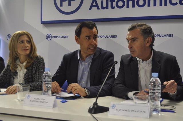 Fernando Martínez-Maíllo, Luis María Beamonte y Mar Vaquero (PP).