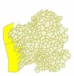 Aviso amarillo en el litoral de A Coruña y Pontevedra para 13 de abril de 2018.
