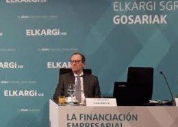 Gregorio Villalabeitia en el acto organizado en Miñano