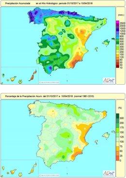 Mapa de lluvias acumuladas en España del 1 de octubre al 10 de abril