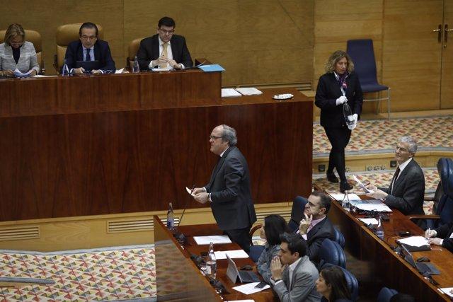 El portavoz del PSOE en la Asamblea de Madrid, Ángel Gabilondo, durante un pleno