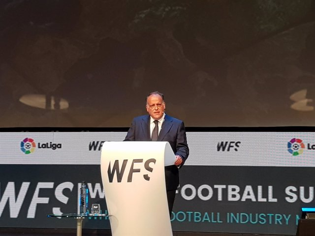 Javier Tebas en su ponencia en el World Football Summit