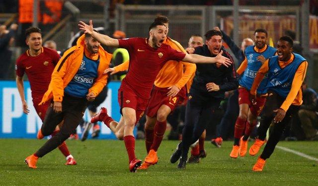 La Roma celebra la victoria