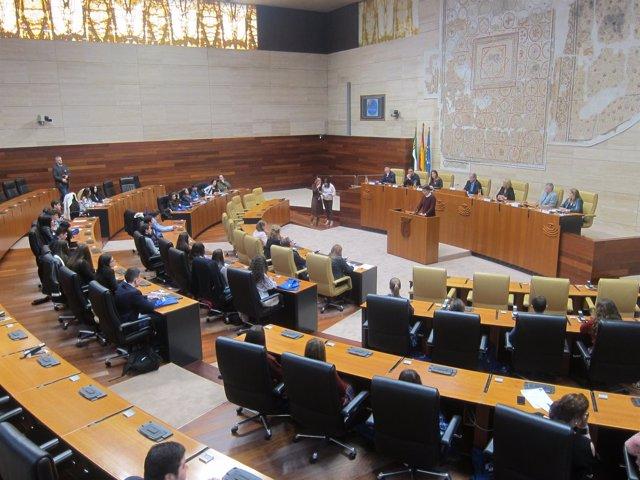 Estudiantes extremeños debaten en la Asamblea el papel de la región en Europa