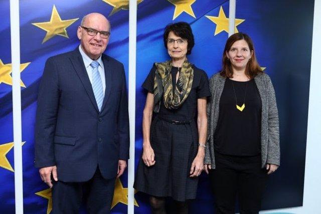 Daniël Termont, Marianne Thyssen y Laia Ortiz