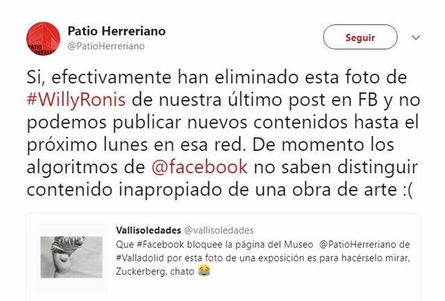 Captura del tuit en el que el Patio Herreriano explica la situación. 13-4-2018