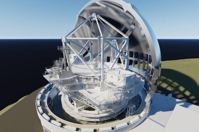 Diseño de cómo sería el Telescopio de Treinta Metros (TMT)