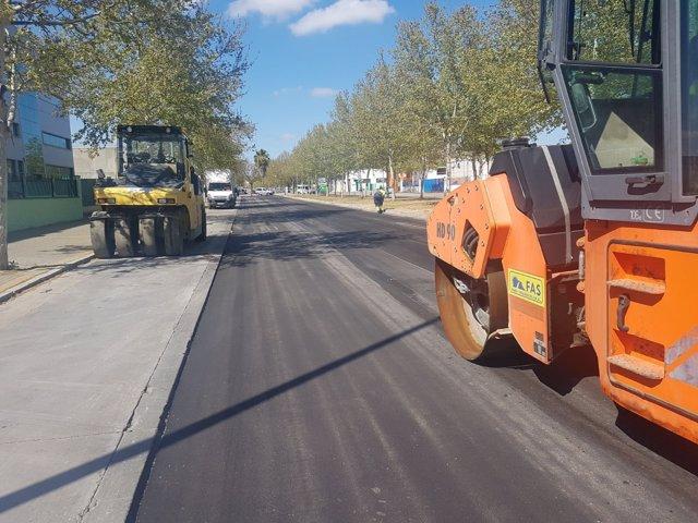 Obras en la calle Parsi de Sevilla