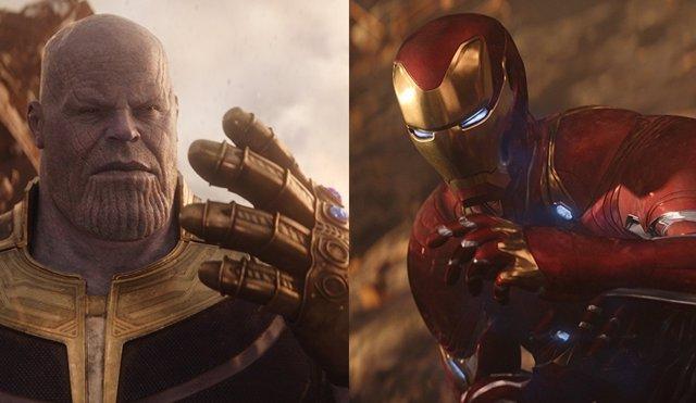 Thanos e Iron Man en Vengadores: Infinity War