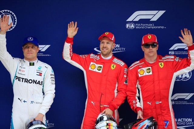 Sebastian Vettel Valtteti Bottas Kimi Raikkonen Shanghai China pole