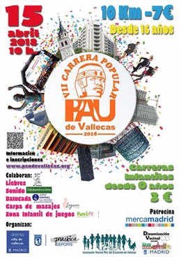 Cartel promocional de la carrera popular en el Pau de Vallecas