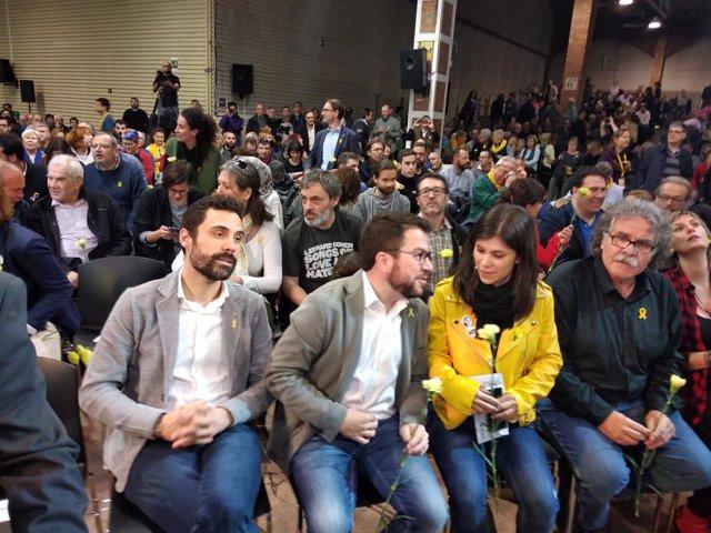 Roger Torrent, Pere Aragonès, Marta Vilalta, Joan Tardà y Alba Vergès (ERC)