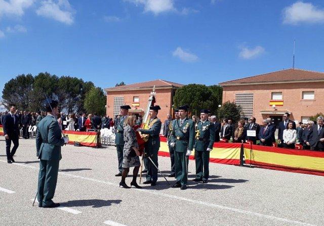 Jura de bandera civil en la academia de la Guardia Civil de Baeza (Jaén)