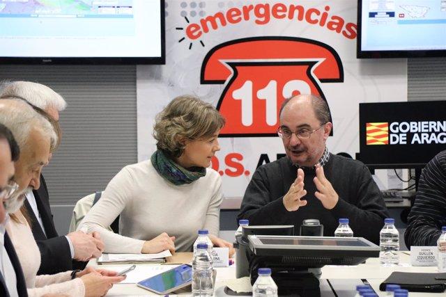 García Tejerina y Javier Lambán en la reunión del CECOP.