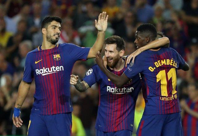 Messi, Luis Suárez y Dembelé