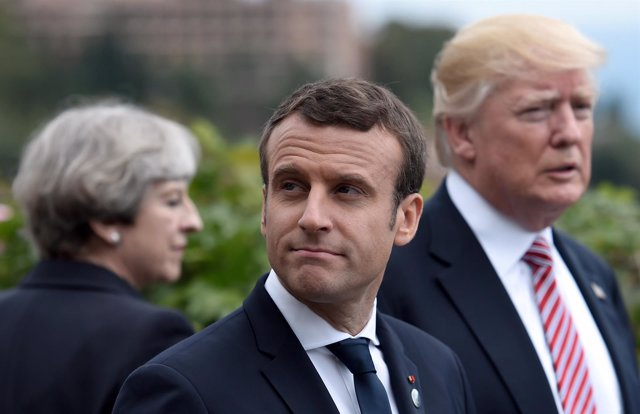 Theresa May, Emmanuel Macron y Donald Trump