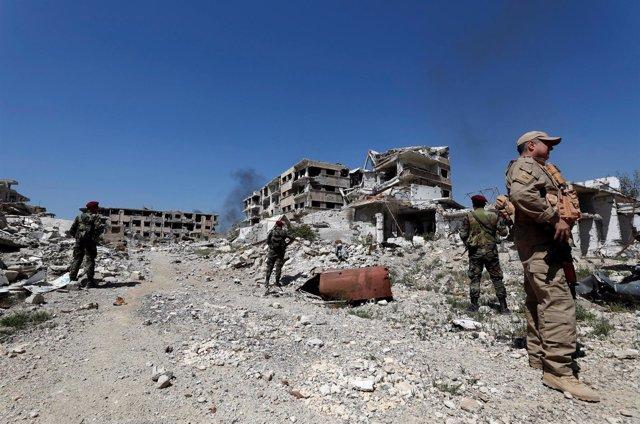 Fuerzas del régimen sirio en Ghuta Oriental