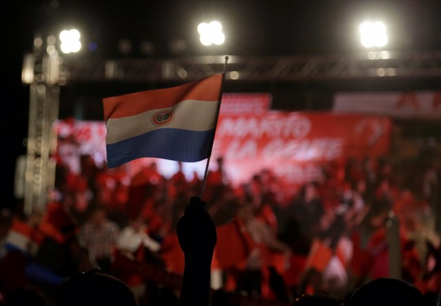 Supporters of Presidential candidate for Paraguay's Colorado Party Mario Abdo Be