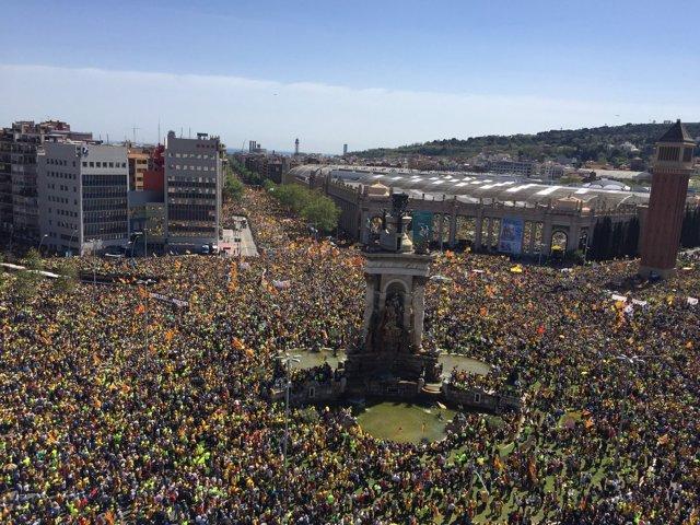 Manifestación en Barcelona en defensa de los presos independentistas